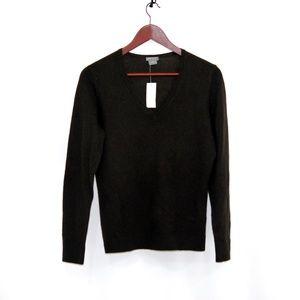Ann Taylor 100% Cashmere V Neck Sweater Sz M Brown